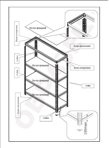 Характеристика.  2) нагрузка на одну полку стеллажа - до 300кг.  4 полки.  5 полок.