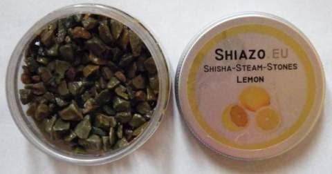 Открытая баночка курительных камней Шиазо со вкусом лимона