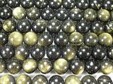 Нить бусин из обсидиана золотого, шар гладкий 10мм