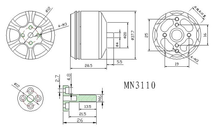 T-motor MN3110 KV470 схема